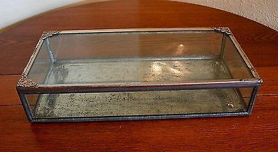Antique Vtg Raw Metal Glass Victorian Display Shadow Jewelry Box Loft Hinged
