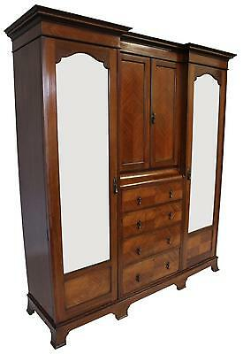 Antique Inlaid Arts and Crafts Triple Wardrobe - FREE DELIVERY -