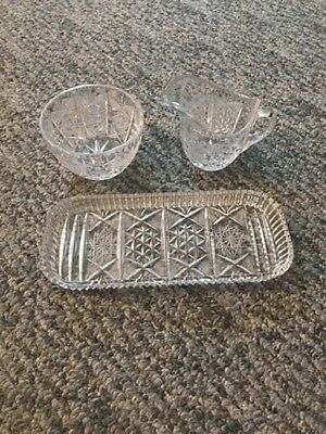 SET of 3 Vintage Antique? American Brilliant Cut Glass Creamer Sugar Relish Tray