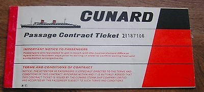 Rms Queen Mary Cunard Line Ticket From Her Last Year In Service