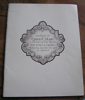 Rms Queen Mary Cunard Line Launch Booklet 32 Pages