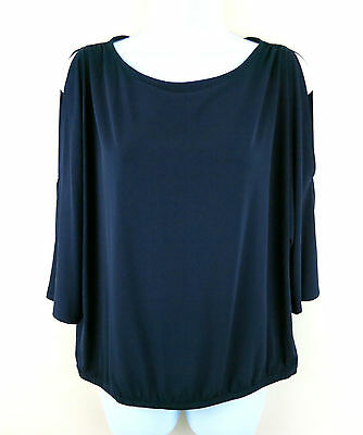 CHICO'S Cold Shoulder East West Blue Ink Navy 3/4 Sleeve Top 0 S 4 / 6 NWT