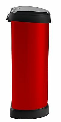 Curver 40 Litre Metal Effect One Touch Deco Bin, Red