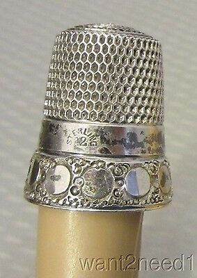 Victorian antique STERLING SILVER THIMBLE 12 large mirror dot pattern band