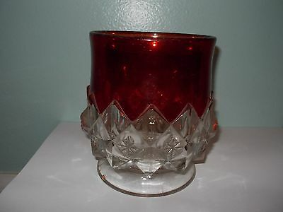 Vintage Ruby Red Clear Cut Glass Crystal Vase Planter Candle Holder Glassware