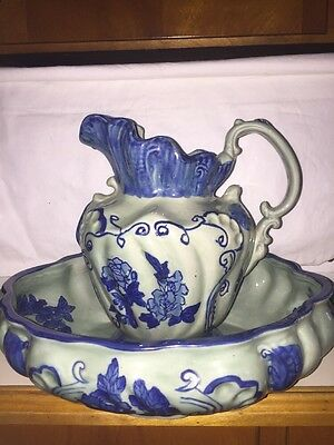 Antique Ironstone Pitcher & Wash Basin-Cobalt Blue