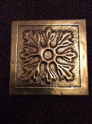 Antique Arts and Crafts Brass and Oak Trivet Stand