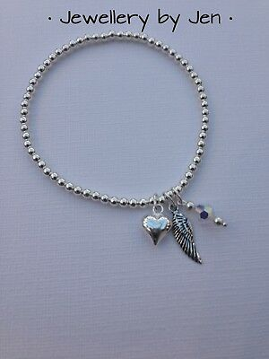 Sterling Silver Stretch Bracelet Heart, Angel Wing & Crystal Stacking Handmade