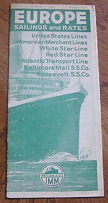 United States Lines, White Star Line Etc. 1932 Europe Steamship Rates Brochure