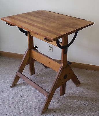 Antique Vtg Cast Iron & Wood Compact Drafting Table