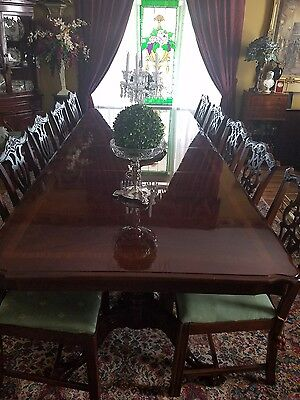 chippendale dining table and 12 chairs