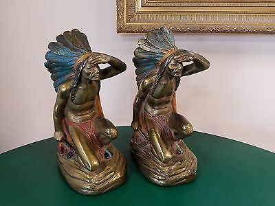 J Ruhl Signed Armor Bronze Bookends Large 10 Inch Native American Scout Colored