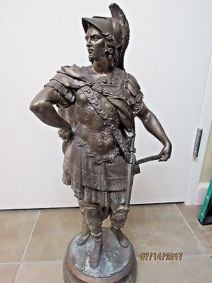 """Antique 19Th Century Brz Statue Of """"alexander The Great"""" (10089-Showroom-Vince)"""