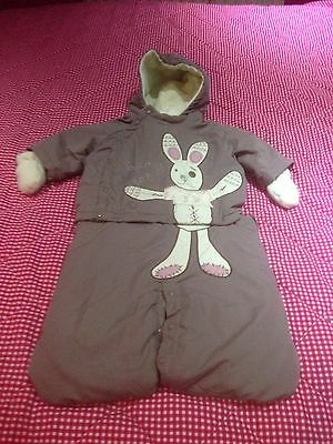 Baby Girls Vertbaudet Designer 2-3 mth Padded Winter Snow Suit glove £7 free pp!