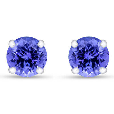 1.00 Ct 5mm Round Cut Tanzanite Stud Earrings In14K White Gold Over