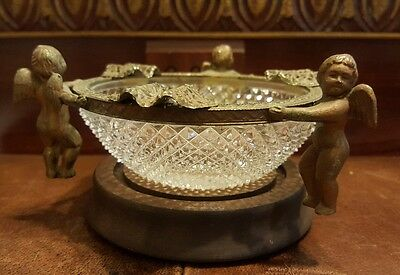 Vintage Compote Crystal Dish Center Piece Bowl/ Ashtray W/cherub Brass Stand
