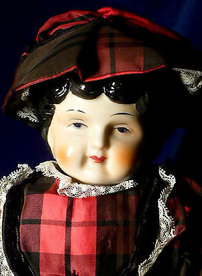 """Antique Reproduction 16"""" Low Brow CHINA HEAD DOLL Cloth Body"""