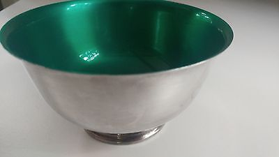 Wm Rogers & Son Paul Revere Reproduction Silver Plate Bowl With Green Enamel...