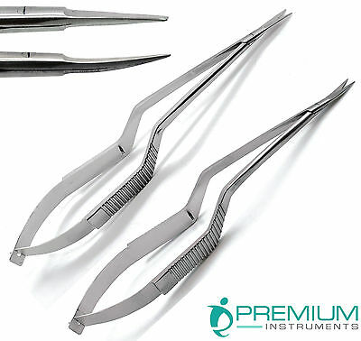 "Micro Scissors 7.5"" Yasargil Sharp/Sharp Straight & Curved Surgical New Set of 2"