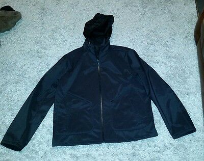 Banana Republic Stretch Polyester Hooded Jacket Men's XL Black Coat Waterproof