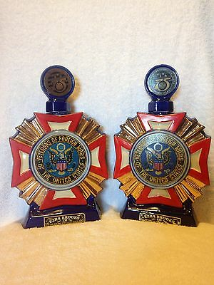 Two! Vintage Ezra Brooks Whiskey Decanter Veterans Foreign Wars 75th 1973