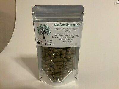 Organic Pure Ginkgo Biloba Capsules Made Fresh 500 MG Memory Focus VEGETARIAN
