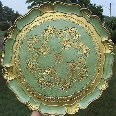 Jade Green & Gold Florentine Italy Italian Florentia Toleware Style Serving Tray