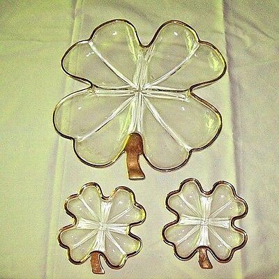Jeanette 4-Leaf Clover Shamrock Glass Candy Snack Dish ~ 3 pieces ~ Gold Trim