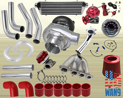 DIY CHROME INTERCOOLER Piping Red Couplers Turbo Kit for 88