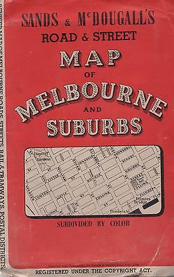 Sands & McDougall's Road & Street Map of Melbourne and Suburbs MAP Vintage 1940s