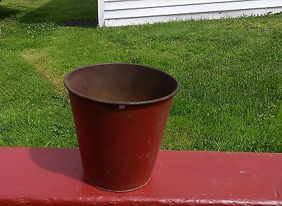Very Nice OLD TIN SAP BUCKET Original RED Maple Syrup W@W!