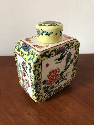 Chinese Famille Verte Porcelain Tea Caddy Republic Period
