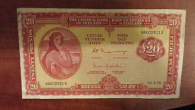 Lady Lavery £20 Pounds Twenty Punt Series A Irish Banknote  IRISH 1973 EXCELLENT