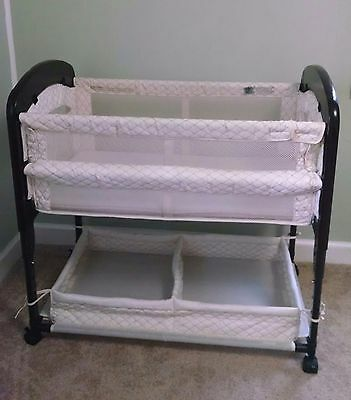 Arm's Reach Concepts Cambria Co-Sleeper Bassinet Natural Baby Bed Wheels Neutral