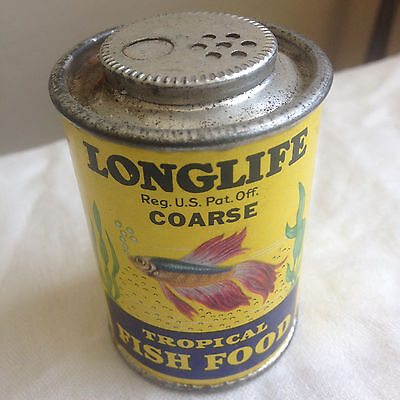 Vintage Longlife Coarse Tropical Fish Food Tin