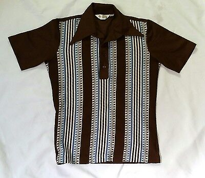 VTG 60s BROWN MR CALIFORNIA TEXTURED  FRONT KNIT HIPSTER POLY POLO SHIRT S