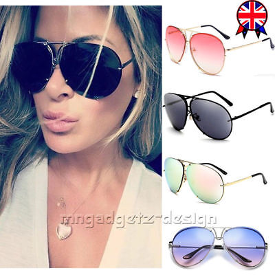 Women Designer Oversized Sunglasses Flat Top Vintage Shadow Shield Celeb Aviator