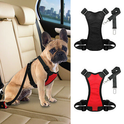 Air Mesh Padded Pet Dog Car Harness & Seat Belt Clip Leash Travel for Dog S M L