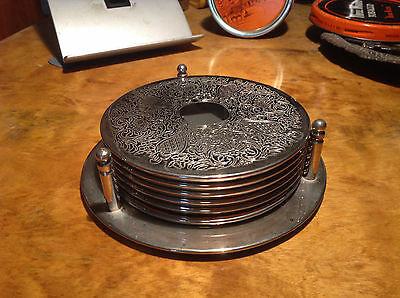 BRT Beautiful Vintage Set x 6 Silver EPNS Patterned Drinks Coasters & Stand