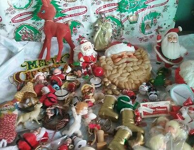 Vintage Christmas Ornaments LOT ESTATE FIND Santa Claus MIXED
