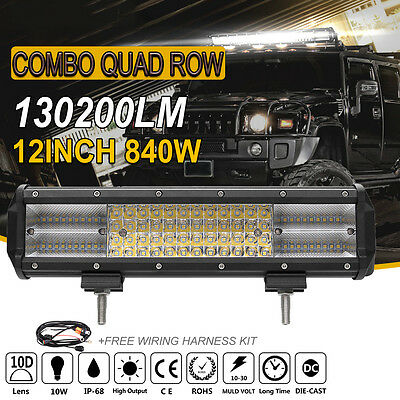 840W 12INCH Quad Row OSRAM LED WORK LIGHT BAR Combo 4WD ATV for Ford Jeep Truck