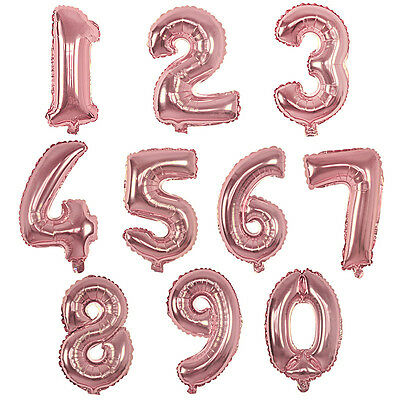 """Rose Gold 16"""" Baby Birthday Party Number Foil Balloons 0123456789 Decoration DIY"""