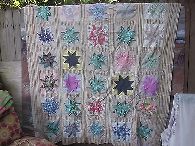 "C. 1940's stunning ""Star"" antique quilt TOP (30 stars), twin or double,SC"