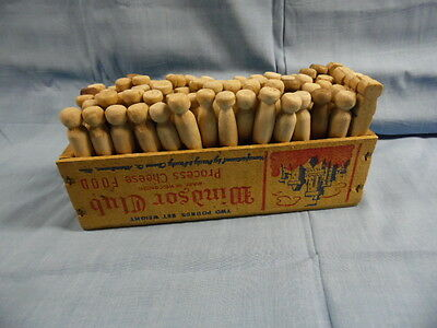 Vintage 72+ Antique Clothes Pins Wood Cheese Box Country Decor 4 Laundry Room