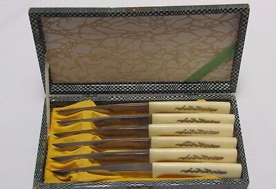 Vintage Japanese Steak Knives with Bakelite Handles Set of 6