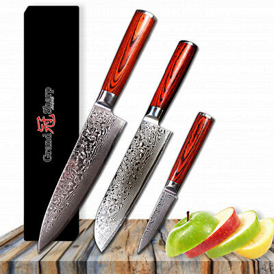 Quality 3 pces Chef Knives Set Japanese VG10 Damascus Steel Blade Kitchen Knife