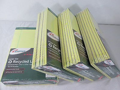 """48 Pads Lot 8 1/2"""" x 11 3/4"""" Letter Size Recycled Legal Pads Canary Wide Ruled"""