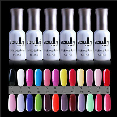 24 Colors Femmes Manucures UV Gel Nail Polish Ongles Vernis Semi Permanents 12ml