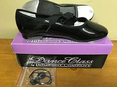 New Trimfoot Tap Shoes Girls Dance Class Patent Leather Ribbon Multiple Sizes