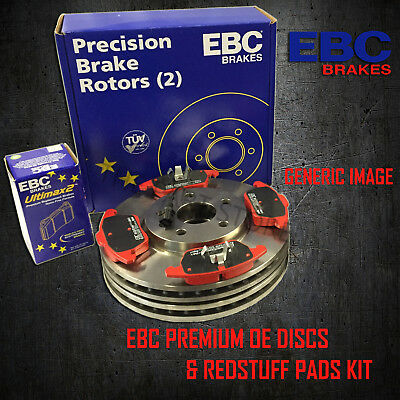 NEW EBC 300mm FRONT BRAKE DISCS AND REDSTUFF PADS KIT OE QUALITY - PD02KF494